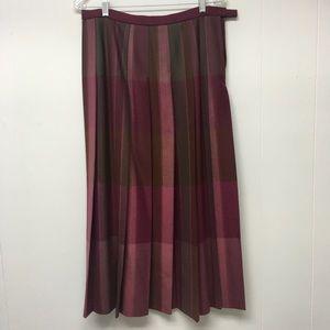 Pendleton Pleat Skirt Burgundy Plaid 100% Wool